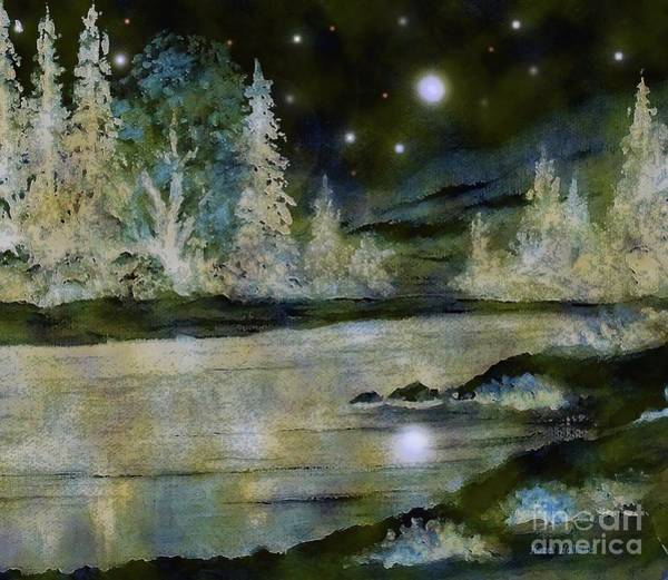 Wall Art - Painting - A Magical Winter Night by Hazel Holland