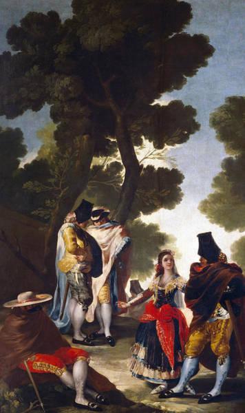 Wall Art - Painting - A Maja And Gallants by Goya