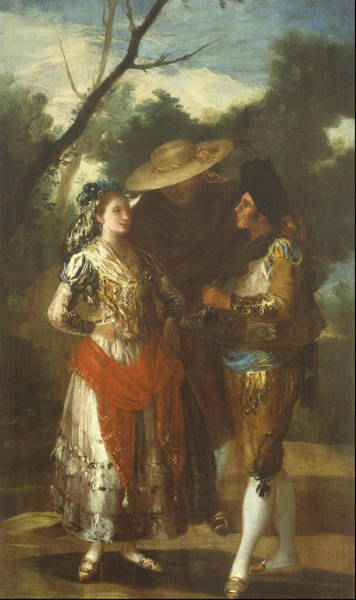 Beauty Salon Painting - A Maja With Two Toreros 1779  by Francisco Goya