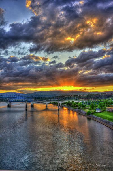 Photograph - A Majestic View 2 Chattanooga Bridges Sunset Art by Reid Callaway