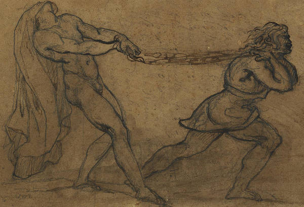 Male Nude Drawing - A Male Nude Pulled By Another Male by Theodore Gericault