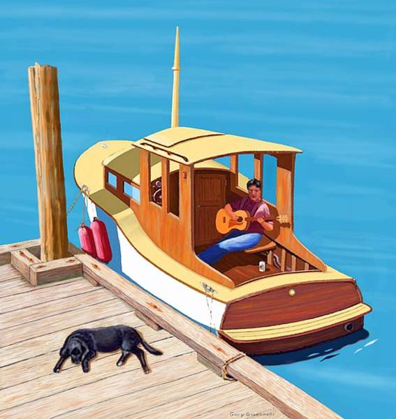 Digital Art - A Man, A Dog And An Old Boat by Gary Giacomelli