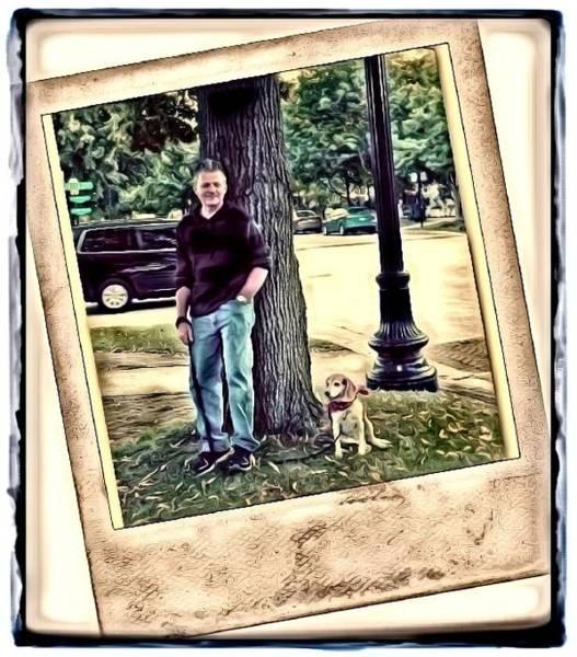 A Man And His Dog Art Print