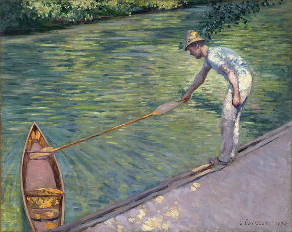 Angler Art Painting - A Man Docking His Skiff by Gustave Caillebotte