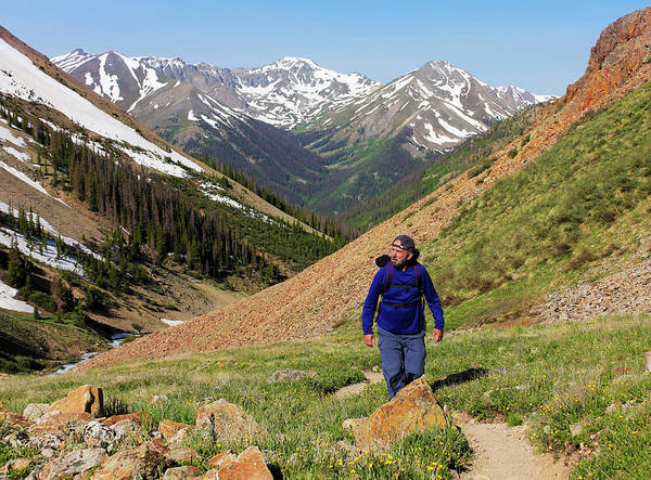Timberline Photograph - A Man Hiking The Silver Creek Trail by Derrick Neill