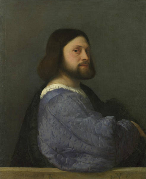 Titian Painting - A Man With A Quilted Sleeve by Titian