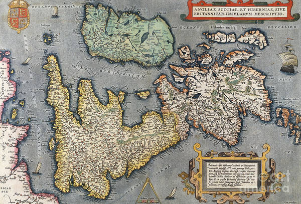 Wales Drawing - A Map Of Great Britain, 1587 by Abraham Ortelius