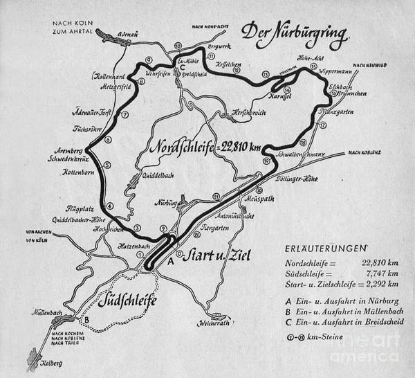 Wall Art - Drawing - A Map Of The Nurburgring Circuit by German School