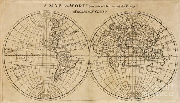 Drawing - A Map Of The World On Which Is Delineated The Voyage Of Robinson Crusoe by English School