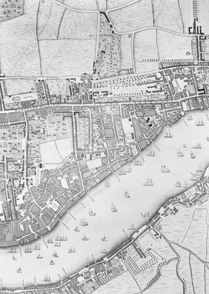 Mapping Drawing - A Map Of Wapping by John Rocque