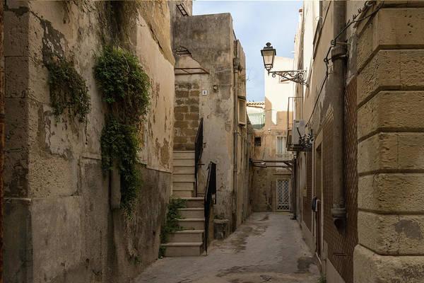 Photograph - A Marble Staircase To Nowhere - Tiny Italian Lane In Syracuse Sicily by Georgia Mizuleva