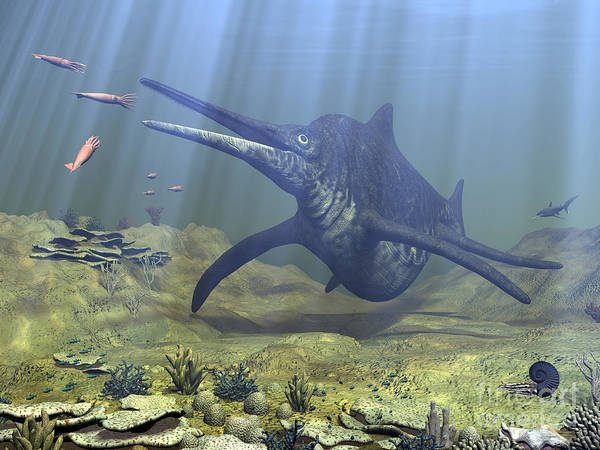 Paleobotany Digital Art - A Massive Shonisaurus Attempts To Make by Walter Myers