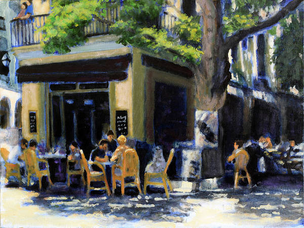 Dining Al Fresco Painting - A Meal In Mallorca by David Zimmerman