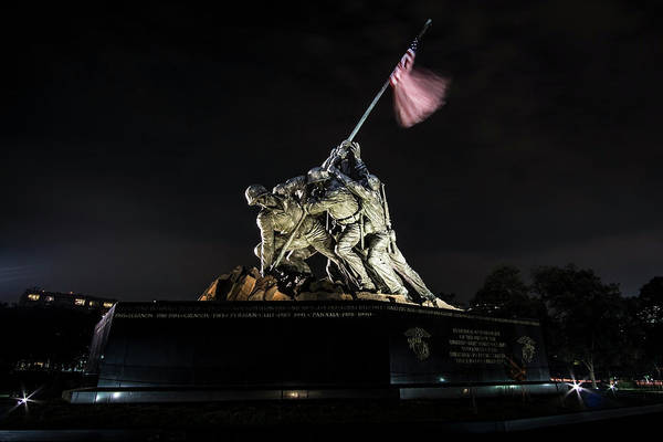 Photograph - A Memorial To The Us Marine Corps At Night by Sven Brogren