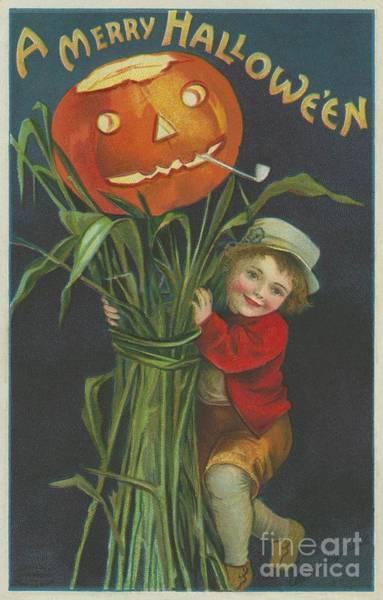 Halloween Painting - A Merry Halloween by Ellen Hattie Clapsaddle