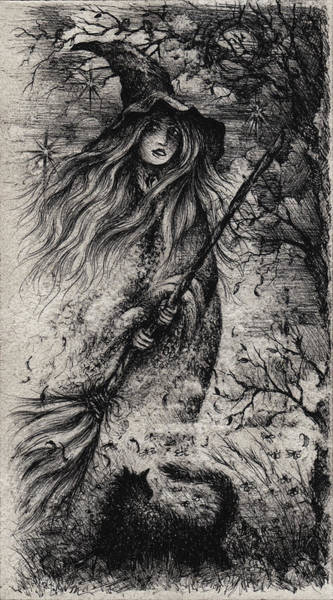 Sorcery Drawing - A Midnight Incantation by Rachel Christine Nowicki