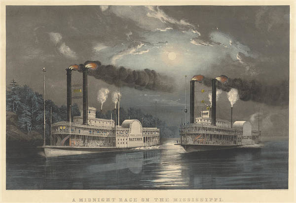 Wall Art - Drawing - A Midnight Race On The Mississippi by Frances Flora Bond Palmer