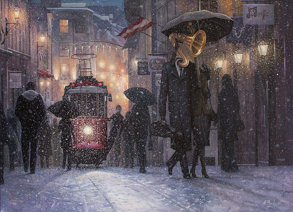 Trains Painting - A Midwinter Night's Dream by Adrian Borda
