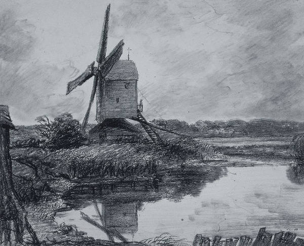River Bank Drawing - A Mill On The Banks Of The River Stour Charcoal On Paper by John Constable