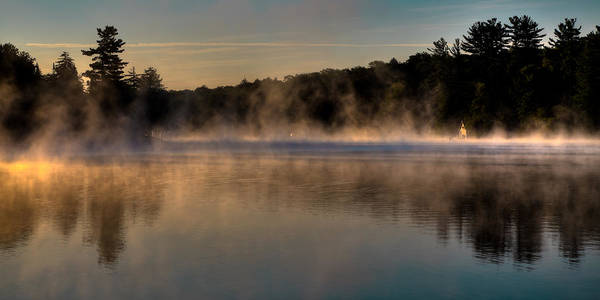 Fulton Chain Of Lakes Photograph - A Misty Morning On Old Forge Pond by David Patterson
