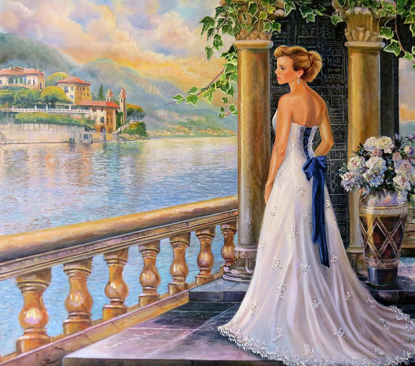 Lake Como Painting - A Moment In Thought by Regina Femrite