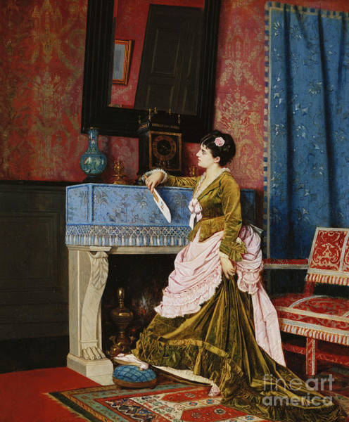 Wall Art - Painting - A Moments Reflection by Auguste Toulmouche