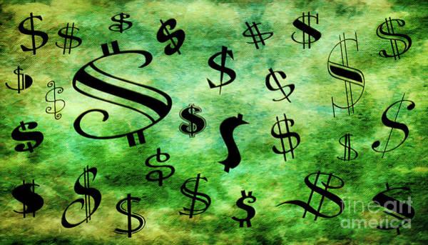 Wall Art - Digital Art - A Money Storm by Andee Design