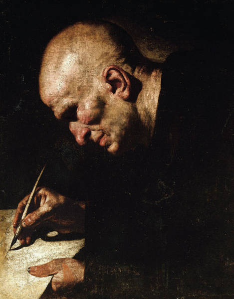 Monk Painting - A Monk Scribe  by Master of the Annunciation to the Shepherds