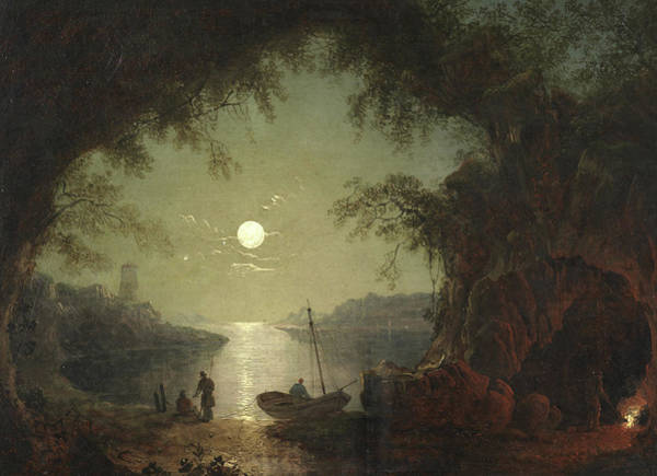 Full Moon Night Painting - A Moonlit Cove by Sebastian Pether