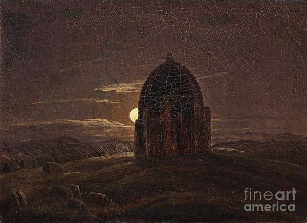 Circa Painting - A Moonlit Landscape With A Temple by MotionAge Designs