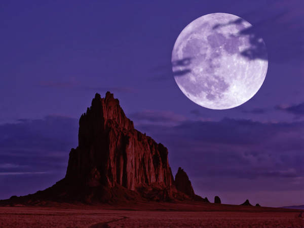 Wall Art - Digital Art - A Moonlit Shiprock, New Mexico, Usa, At Night by Derrick Neill