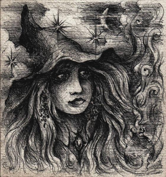 Sorcery Drawing - A Moonlit Spell by Rachel Christine Nowicki
