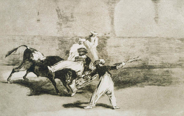 Relief - A Moor Caught By The Bull by Francisco Goya