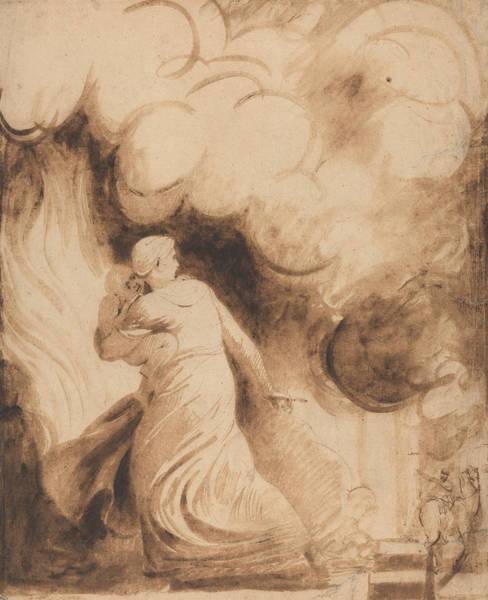 Wall Art - Drawing - A Mother With Her Child In Her Arms Flying Upon The Ramparts Of A City In Flames  by George Romney