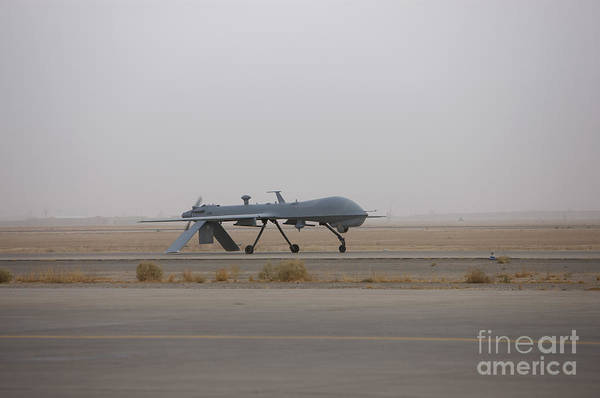 Taxiway Wall Art - Photograph - A Mq-1c Warrior Taxis Out To The Runway by Terry Moore