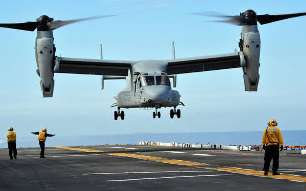 Amphibious Assault Ship Wall Art - Photograph - A Mv-22 Osprey Aircraft Prepares by Stocktrek Images
