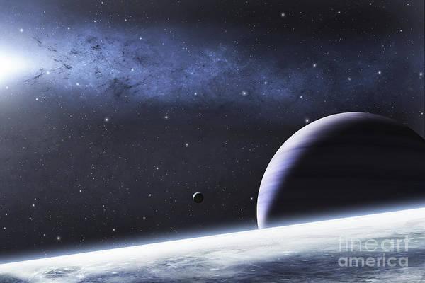 Cosmology Digital Art - A Mysterious Light Illuminates A Small by Justin Kelly