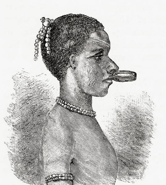 Lip Piercing Wall Art - Drawing - A Native African Woman Wearing A Lip by Vintage Design Pics