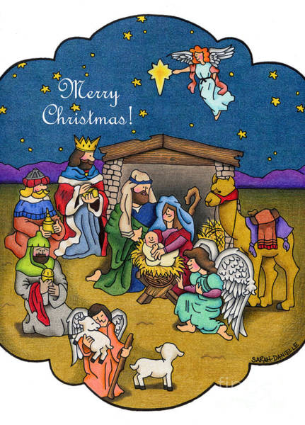 Bethlehem Drawing - A Nativity Scene- Merry Christmas Cards by Sarah Batalka