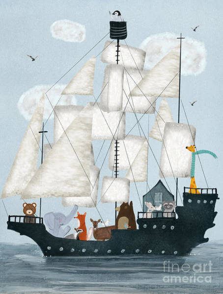 Tall Ships Wall Art - Painting - A Nautical Adventure by Bri Buckley