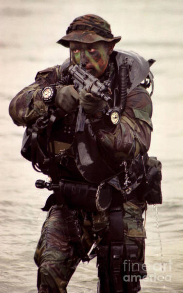 Navy Seal Photograph - A Navy Seal Exits The Water Armed by Michael Wood