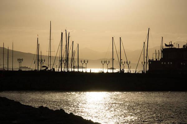 Photograph - A Necklace Of Old World Street Lights - Golden Morning At Naples Marina by Georgia Mizuleva