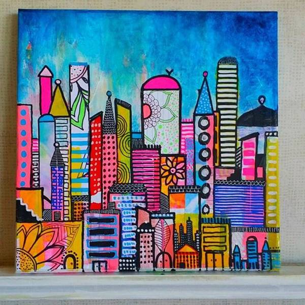 Wall Art - Photograph - A New 12 X12 #cityscape #collage by Robin Mead