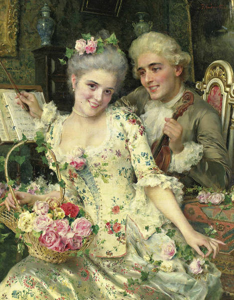 Italian Painters Wall Art - Painting - A New Basket Of Flowers by Federico Andreotti