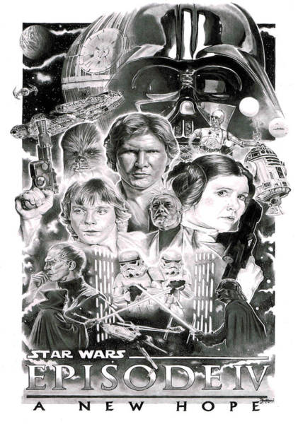 Episode 4 Wall Art - Drawing - A New Hope by David Horton