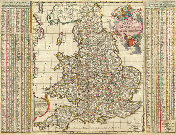 Wall Art - Painting - A New Map Of The Kingdom Of England by Nicolaes Visscher