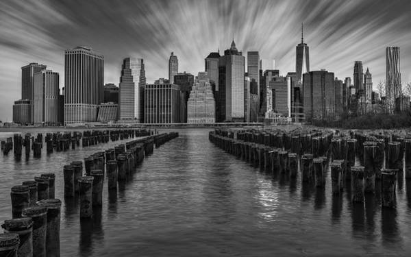 Photograph - A New York City Day Begins Bw by Susan Candelario