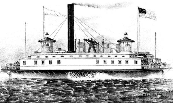Currier And Ives Wall Art - Drawing - A New York Ferry Boat by Currier and Ives