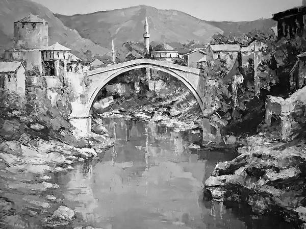 Digital Art - A Night In Old Town Mostar by Joseph Hendrix