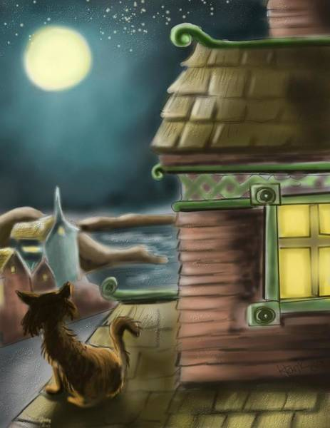 Wall Art - Digital Art - A Night On The Roof by Hank Nunes